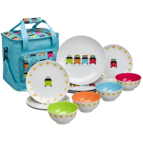 VW Camper Smiles 4 persons 13pc Melamine Round Dinner Set.