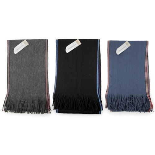 Men/'s Plain Knitted 100/% Acrylic Scarf Side Stripes # 72199