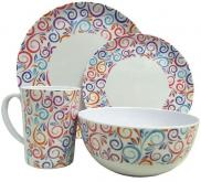 Leisurewize Swirls 16 Piece Melamine Dining Picnic Set