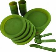 Highlander 24 Piece Plastic Picnic Camping Set 4 person Olive