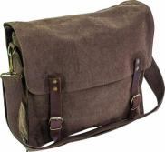 Highlander Fintry Brown Canvas Satchel 10 Litre Heavy Duty Shoulder Bag