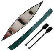 Canadian Canoe Three Seat 3 Man Canoe Two Paddles Riber 16 Green