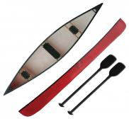 Riber 16 Red Canadian Canoe Three Seat 3 Man Canoe Two Paddles