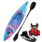 Riber Starter Pack One Man Kayak Deluxe - Lake Blue Purple & White