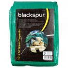 Blackspur Tarpaulin 10 x 12ft (3 x 3.6m) Green Groundsheet