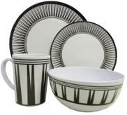 Leisurewize Stripe 16 Piece Melamine Dining Picnic Set